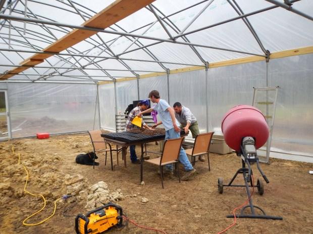 Ben, Drayton, and I spreading soil, New Day Farm, Clinton, Louisiana