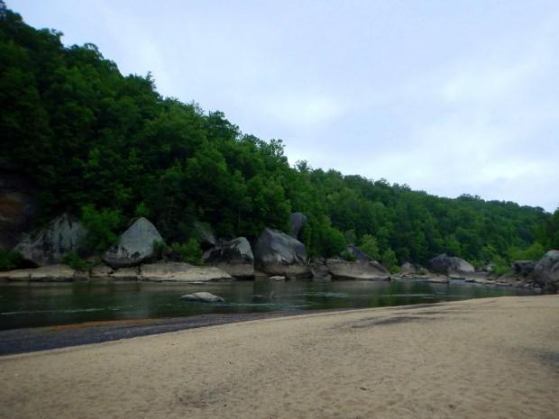 Beach along Cumberland River downstream from the falls, Cumberland Falls State Park, Kentucky
