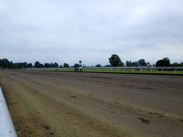 View of the track looking towards the last turn from the home stretch, Keeneland Racetrack, Lexington, Kentucky