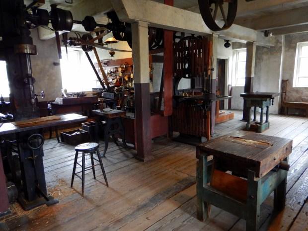 Woodworking workshop, Wilkinson Mill, Slater Mill Historic Site, Pawtucket, Rhode Island