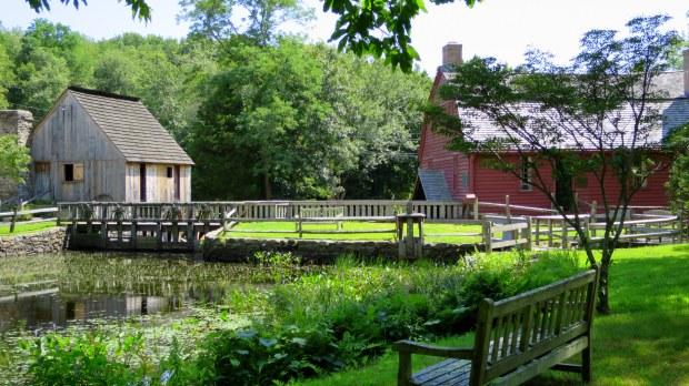 Mill pond, Hammond Mill, and Gilbert Stuart House, Gilbert Stuart Museum, Saunderstown, Rhode Island