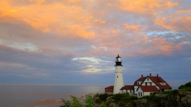 Sunset over Portland Head Lighthouse, Fort Williams Park, Portland, Maine