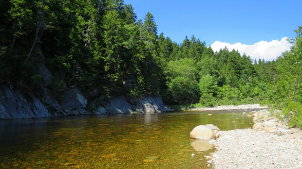 Swimming spot on the Big Salmon River, Hearst Lodge Trail, Fundy Trail, New Brunswick, Canada