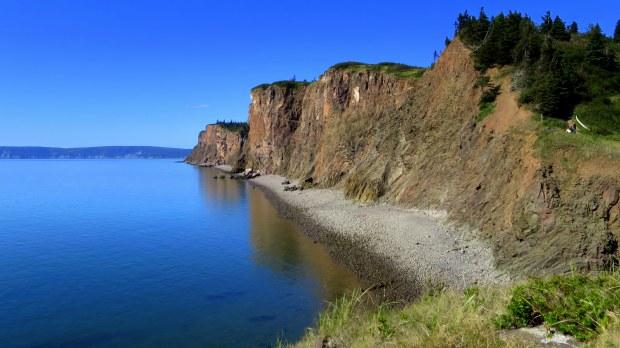 Copper cliffs at Cape D'Or, Nova Scotia, Canada