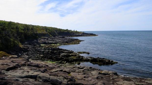 Basalt coast, Prim Point Lightstation, Digby, Nova Scotia, Canada