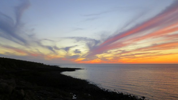Trailing clouds after sunset, Prim Point Lightstation, Digby, Nova Scotia, Canada