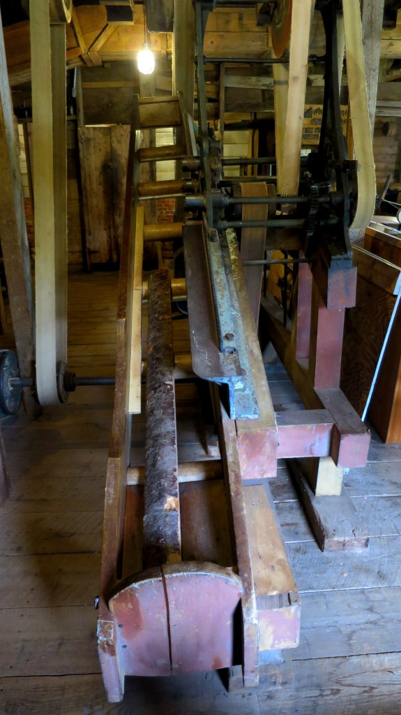 Lathe with angled rollers, Sutherland Steam Mill Museum, Denmark, Nova Scotia, Canada