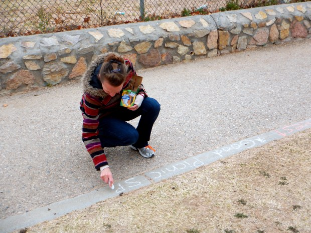 Chrissy making people aware of a potential good picnic spot, El Paso, Texas