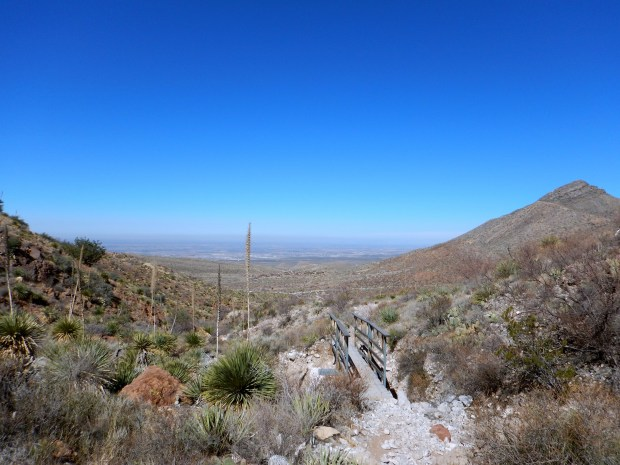 Descending on Aztec Caves Trail, Franklin Mountains State Park, El Paso, Texas