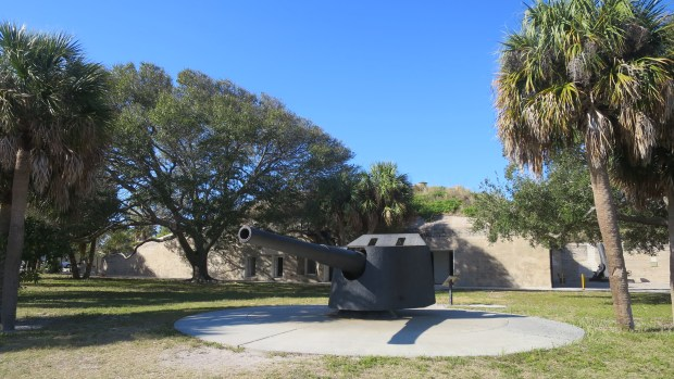 Spanish-American War cannon and battery in background, Fort De Soto Park, Florida