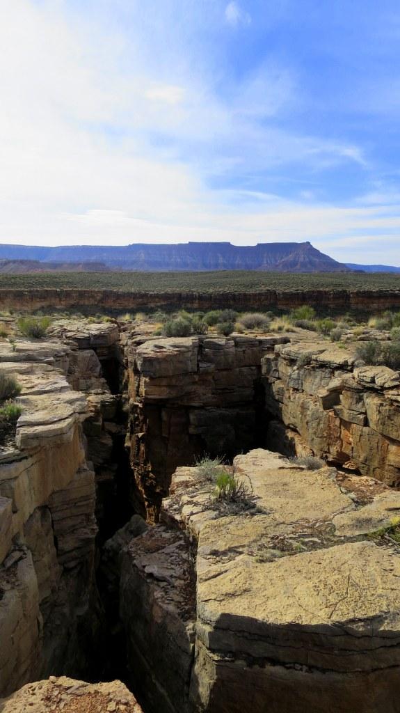 Cracks in the Virgin River Canyon Rim, Utah