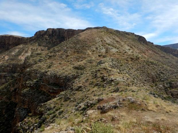Ridge connecting to next peak, Virgin River Canyon Recreation Area, Arizona