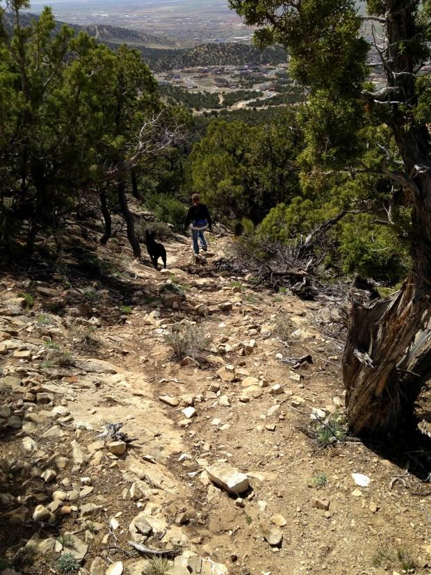 Abby and I descending near bottom of mountain, Fiddlers Canyon, Cedar City, Utah