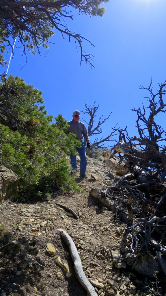 Tom descending on scree, Fiddler's Canyon, Cedar City, Utah
