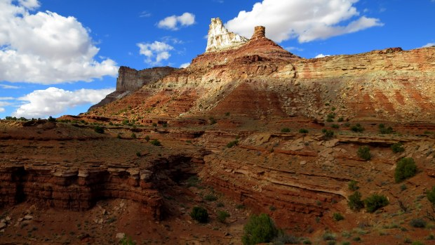 Temple Mountain with canyon in forefront, San Rafael Swell BLM Area, Utah