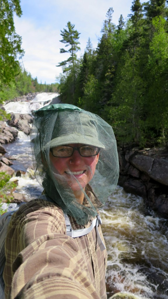 It's only fair if I include a photo of me rocking the bug net, Pinguisibi Trail, Lake Superior Provincial Park, Ontario, Canada