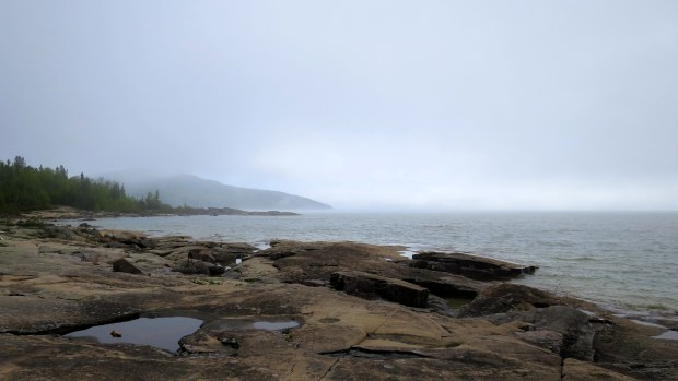 Fog rolls in again on the return, Under the Volcano Trail, Neys Provincial Park, Ontario, Canada