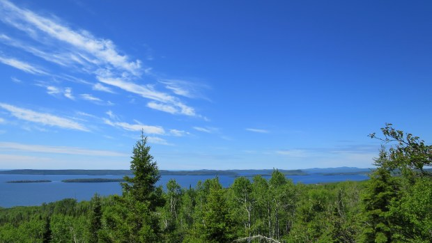 Looking out the other direction over Lake Superior, Rainbow Falls Trail, Rainbow Falls Provincial Park, Ontario, Canada