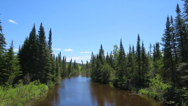 Crossing a tributary of Nipigon River, Nipigon River Trail, Ontario