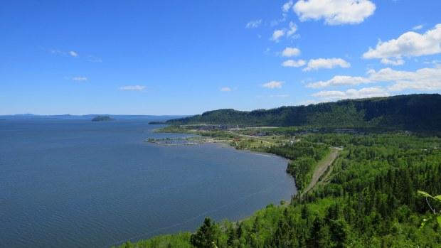 Overlooking town of Red Rock from Lloyd's Lookout, Nipigon River Trail, Ontario