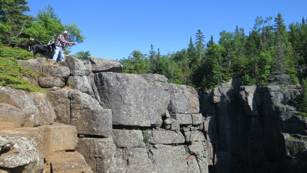 Tom and Abby checking it out, Top of the Giant Trail, Sleeping Giant Provincial Park, Ontario, Canada