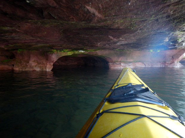 Kayaking in a cave, Red Cliff Indian Reservation, Wisconsin
