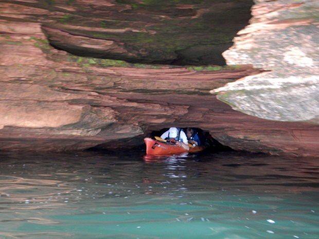 Example of how we had to duck in order to kayak through caves, Apostle Islands National Lakeshore, Wisconsin