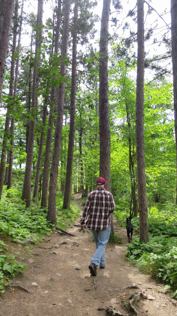 Tom and Abby on the trail to Sugarloaf Mountain, Marquette, Michigan
