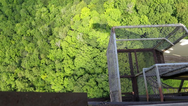 The view straight down which in no way does it justice, Copper Peak Ski Flying Hill, Michigan
