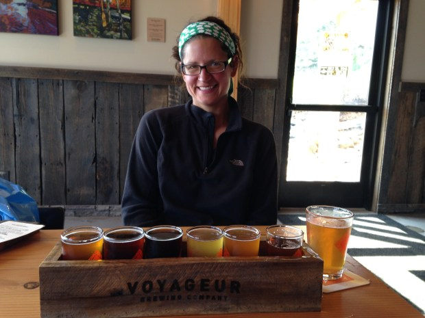 Flight and a half pint at Voyageur Brewing Company, Grand Marais, Minnesota