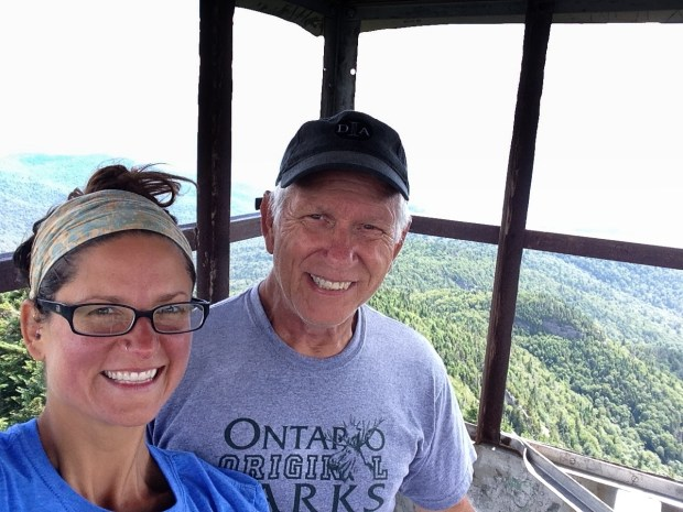 Tom and I atop fire tower, Snowy Mountain, Adirondacks, New York