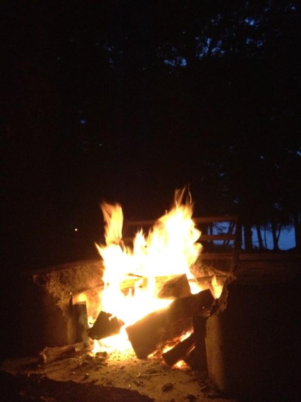 Love a good campfire, Sacandaga Lake, Moffitt Beach, New York
