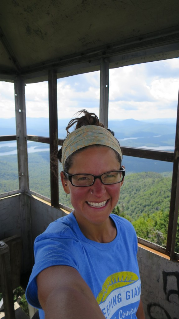 Windy as hell on top of the fire tower, Snowy Mountain, Adirondacks, New York