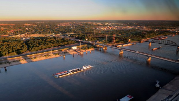 Mississippi River near sunset from Gateway Arch, St. Louis, Missouri