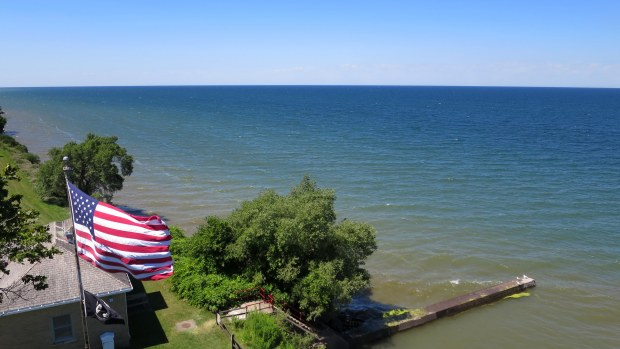 View of Lake Ontario and the grounds from the tower of Thirty Mile Point Lighthouse, Golden Hill State Park, New York