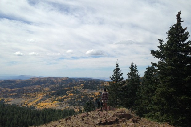 Abby and I enjoying the view near Big John Flat, Fishlake Mountains National Forest, Utah