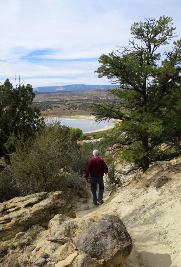 Tom descending back down Petrified Forest Trail, Escalante Petrified Forest State Park, Utah