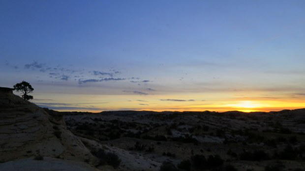 Sunrise near camp on the Burr Trail, Grand Staircase-Escalante National Monument, Utah