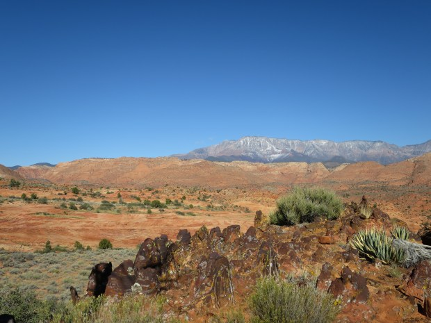 Iron oxide deposits with red cliffs and Pine Mountains in background, Red Cliffs National Conservation Area, Utah