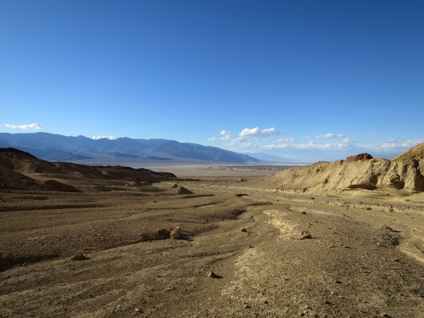 Looking out at the basin behind me as we hiked into Desolation Canyon, Death Valley National Park, California
