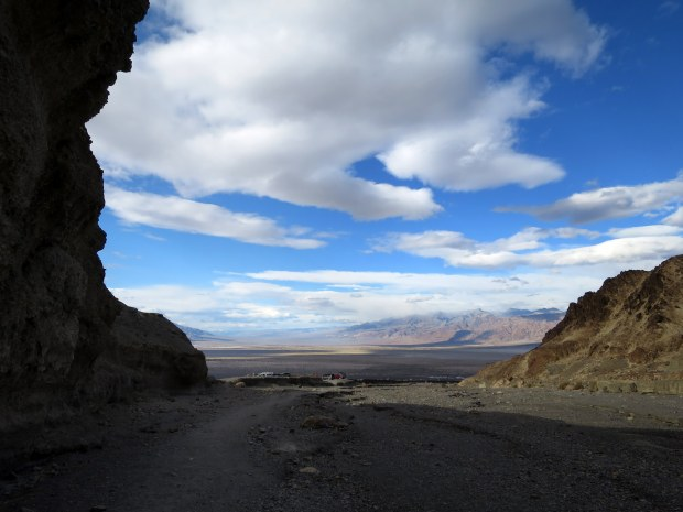 Looking back to trailhead in Mosaic Canyon, Death Valley National Park, California