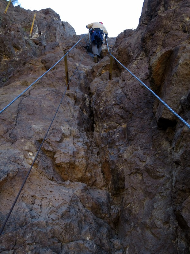 Another set of cables (and an unknown person's rear end), Hunter Trail, Picacho Peak State Park, Arizona