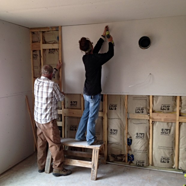 Jerry and I screwing drywall in, Mesilla Valley Habitat for Humanity, Las Cruces, New Mexico