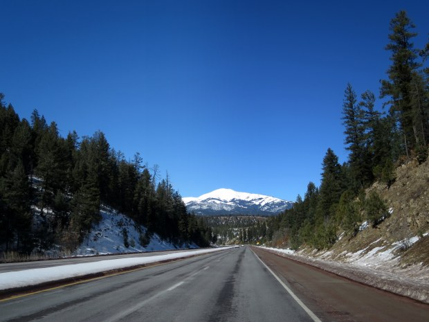 Driving up into the Sierra Blanca Mountains range in Lincoln National Forest, New Mexico