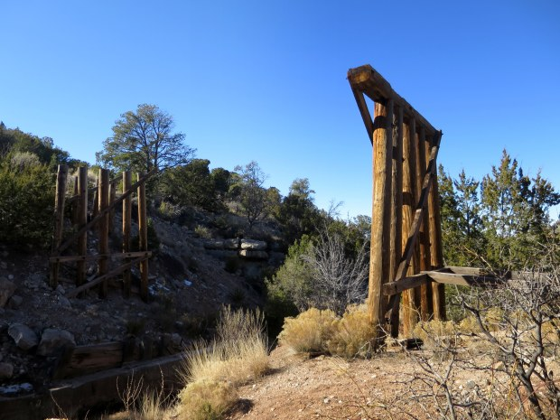 Passing an old rail trestle, Bridal Veil Falls Trail, Lincoln National Forest, New Mexico