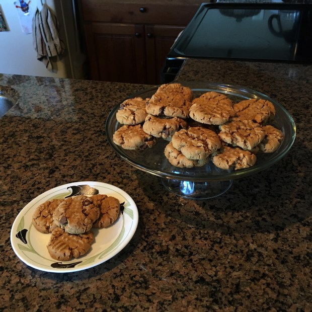 Peanut butter oat cookies, with and without chocolate chips