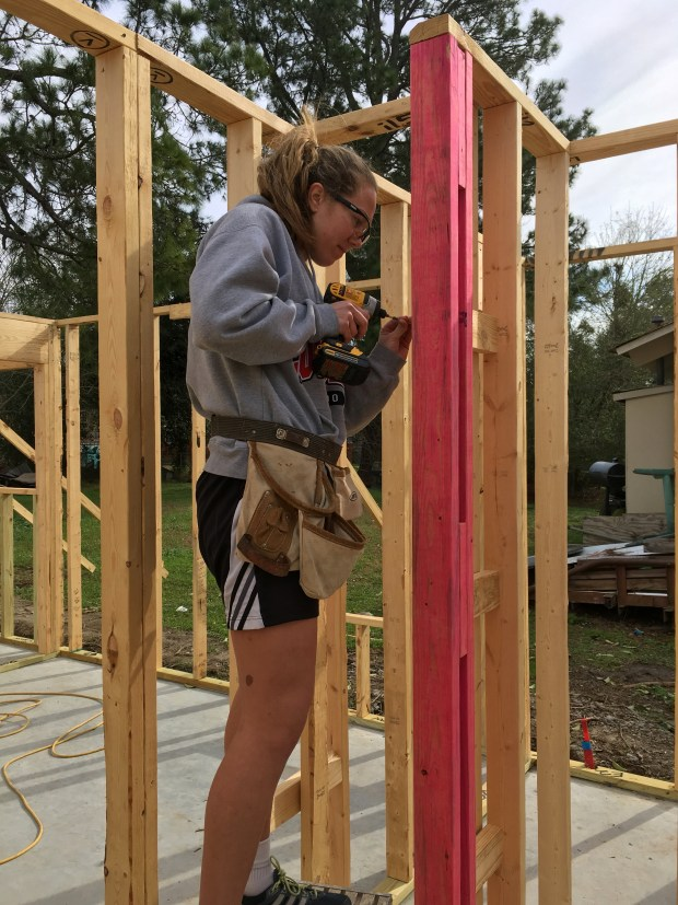 University of Louisiana volleyball player Julia working with me on ladder blocking