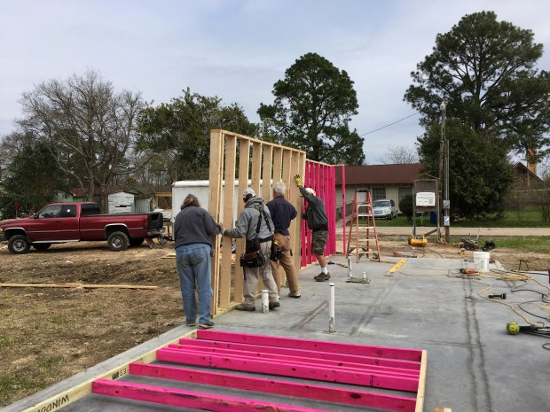 Raising walls with Sandi, Tom, and the two Mikes