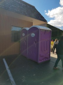 Purple portapotties