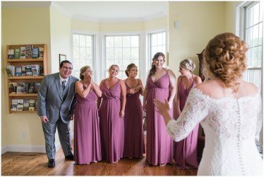 Perfect moment - Alaina and bridesmaids see each other all dressed for the wedding
